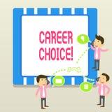 Wort, das Text Berufswahl schreibt Geschäftskonzept für Auswahl eines bestimmten Weges oder der Berufung im Hinblick auf Karriere lizenzfreie abbildung
