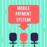 Wort, das Text bewegliches Zahlungs-System schreibt Geschäftskonzept für die Zahlungsdienstleistung erbracht über Leerstelle der  vektor abbildung