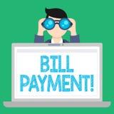 Wort, das Text Bill Payment schreibt Geschäftskonzept für die Geldüberweisung festgelegt auf vorbestimmtem Datum, um Mann-Holding vektor abbildung