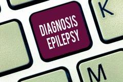 Wort, das Text Diagnosen-Epilepsie schreibt Geschäftskonzept für Störung in, welcher Gehirntätigkeit anormal wird lizenzfreies stockbild