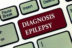 Wort, das Text Diagnosen-Epilepsie schreibt Geschäftskonzept für Störung in, welcher Gehirntätigkeit anormal wird lizenzfreies stockfoto