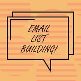 Wort, das Text E-Mail-Listen-Gebäude schreibt Geschäftskonzept für erlaubt Verteilung von Informationen analysisy Internetnutzern vektor abbildung