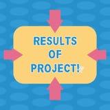 Wort, das Text Ergebnisse der Projekte schreibt Geschäftskonzept für Konsequenz oder Ergebnis von bestimmten Aktionen tritt Pfeil lizenzfreie abbildung