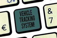 Wort, das Text Fahrzeug-Tracking-System schreibt Geschäftskonzept für die Überwachung und die Spurhaltung des Fahrzeugs über Tech lizenzfreie stockbilder