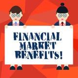 Wort, das Text Finanzmarkt-Nutzen schreibt Geschäftskonzept für Contribute zur Gesundheit und zur Wirksamkeit eines Markt Mannes stock abbildung