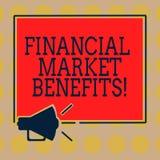 Wort, das Text Finanzmarkt-Nutzen schreibt Geschäftskonzept für Contribute zur Gesundheit und zur Wirksamkeit eines Markt Megapho lizenzfreie abbildung
