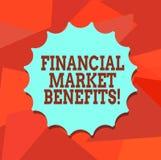 Wort, das Text Finanzmarkt-Nutzen schreibt Geschäftskonzept für Contribute zur Gesundheit und zur Wirksamkeit eines Marktes vektor abbildung
