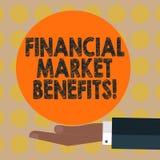 Wort, das Text Finanzmarkt-Nutzen schreibt Geschäftskonzept für Contribute zur Gesundheit und zur Wirksamkeit eines Marktes HU lizenzfreie abbildung