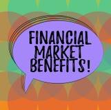 Wort, das Text Finanzmarkt-Nutzen schreibt Geschäftskonzept für Contribute zur Gesundheit und zur Wirksamkeit eines Ovals Markt f lizenzfreie abbildung