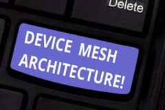 Wort, das Text Gerät Mesh Architecture schreibt Geschäftskonzept für Digital-Geschäftstechnologie-Plattformkoordination stockbild