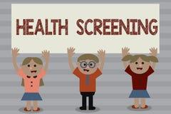 Wort, das Text Gesundheits-Siebung schreibt Geschäftskonzept für die gerichtete systematische Aktion entworfen, um Krankheiten zu stockfotografie