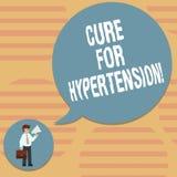 Wort, das Text Heilung für Bluthochdruck schreibt Geschäftskonzept für das Erhalten von Behandlung, um den Blutdruck Mann herein  lizenzfreie abbildung