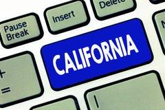 Wort, das Text Kalifornien schreibt Geschäftskonzept für Zustand auf Stränden Hollywood der Westküste Vereinigten Staaten von Ame lizenzfreies stockfoto