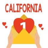 Wort, das Text Kalifornien schreibt Geschäftskonzept für Zustand auf Stränden Hollywood der Westküste Vereinigten Staaten von Ame lizenzfreie abbildung