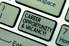 Wort, das Text Karriere-Gelegenheit und freie Stelle schreibt Geschäftskonzept für den Job, der Huanalysis-Betriebsmittel Einstel lizenzfreie stockbilder