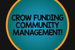 Wort, das Text Krähen-Finanzierungs-Gemeinschaftsmanagement schreibt Geschäftskonzept für Risikokapitalsprojekt-Investitionen gro vektor abbildung