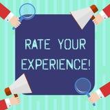 Wort, das Text Rate Your Experience schreibt Geschäftskonzept für Evaluate das Wissen oder die Fähigkeit haben Sie HU-Analyse Hän vektor abbildung
