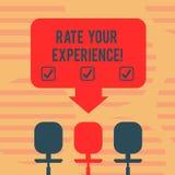 Wort, das Text Rate Your Experience schreibt Geschäftskonzept für Evaluate das Wissen oder die Fähigkeit haben Sie Leerstelle gew stock abbildung