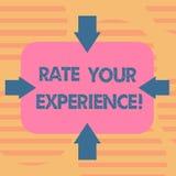 Wort, das Text Rate Your Experience schreibt Geschäftskonzept für Evaluate das Wissen oder die Fähigkeit haben Sie Pfeile auf vie vektor abbildung