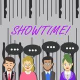 Wort, das Text Showtime schreibt Geschäftskonzept für Zeit, die ein Spiel-Film-Konzert Perforanalysisce-Ereignis festgelegt wird  vektor abbildung