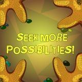 Wort, das Text Suchvorgang mehr Möglichkeiten schreibt Geschäftskonzept für Suche oder die Gelegenheiten des Joint Ventures finde stock abbildung