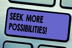 Wort, das Text Suchvorgang mehr Möglichkeiten schreibt Geschäftskonzept für Suche oder die Gelegenheiten des Joint Ventures finde lizenzfreie abbildung