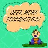 Wort, das Text Suchvorgang mehr Möglichkeiten schreibt Geschäftskonzept für Suche oder die Gelegenheiten von Joint Venture Baby f vektor abbildung