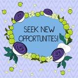 Wort, das Text Suchvorgang neue Gelegenheiten schreibt Geschäftskonzept für das Suchen einem neuen Job oder nach einem anderen Un stock abbildung