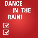Wort, das Text Tanz in den Regen schreibt Geschäftskonzept für Enjoy der regnerischer Tageskindische Tätigkeiten glückliche tanze lizenzfreie abbildung