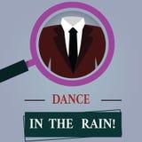 Wort, das Text Tanz in den Regen schreibt Geschäftskonzept für Enjoy das glückliche Tanzen der regnerischer Tageskindischen Tätig vektor abbildung
