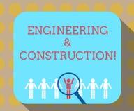 Wort, das Text Technik und Bau schreibt Geschäftskonzept für das Anwenden von Fachkenntnissen an der Infrastruktur lizenzfreie abbildung