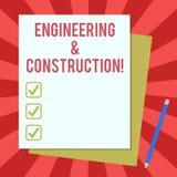 Wort, das Text Technik und Bau schreibt Geschäftskonzept für das Anwenden von Fachkenntnissen an der Infrastruktur vektor abbildung