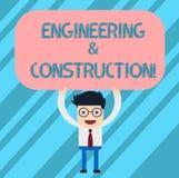 Wort, das Text Technik und Bau schreibt Geschäftskonzept für das Anwenden von Fachkenntnissen an Infrastruktur Mann vektor abbildung