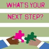 Wort, das Text was S Ihr folgendes Stepquestion schreibt Geschäftskonzept für Analyse sich fragen, bevor Entscheidungen zwei getr stock abbildung