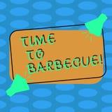 Wort, das Text Zeit schreibt zu grillen Geschäftskonzept für Entspannungskochendes Fleischhühnerschweinefleisch auf Grill Sommert vektor abbildung