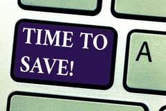 Wort, das Text Zeit schreibt zu speichern Geschäftskonzept für Anfangsrettungsgeld für die zukünftigen oder kommenden Pläne inves stockfoto