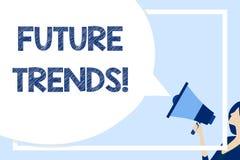 Wort, das Text Zukunft-Tendenzen schreibt Geschäftskonzept für die Prognosen, die Technologiekunden und Geschäft enormen freien R stock abbildung