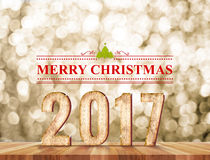 Wort der frohen Weihnachten 2017 im Perspektivenraum mit Gold-sparklin Lizenzfreie Stockbilder