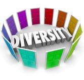 Wort der Verschiedenartigkeits-3d viele Wahl-ethnischen rassischen Hintergründe Heritag Lizenzfreies Stockbild