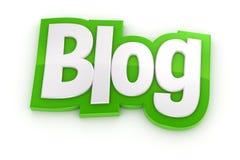 Wort des Blogs 3D auf weißem Hintergrund Lizenzfreies Stockbild