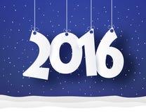 Wort des neuen Jahres, das an den Threads mit Schnee und Konfettis hängt Stockfotografie