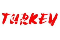 Wort die TÜRKEI über Staatsflagge von der Türkei Lizenzfreie Stockbilder