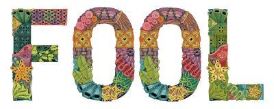 Wort DUMMKOPF Vektor dekorativer zentangle Gegenstand lizenzfreie abbildung
