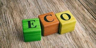 Wort Eco auf Holzklötzen Abbildung 3D Lizenzfreies Stockbild