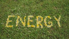 Wort ENERGIE geschrieben mit Blüten Lizenzfreies Stockfoto