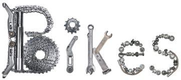 Wort-Fahrräder Stockfoto