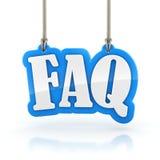 Wort FAQ 3D, das am weißen Hintergrundbeschneidungspfad hängt Lizenzfreies Stockbild