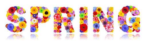 Wort-Frühling hergestellt von den bunten Blumen lokalisiert auf Weiß Stockfotos