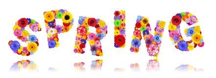 Wort-Frühling hergestellt von den bunten Blumen lokalisiert auf Weiß Lizenzfreies Stockbild