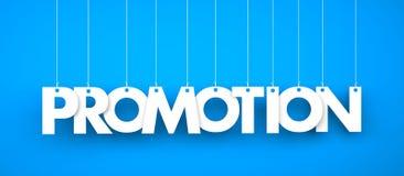 Wort-Förderung, die am blauen Hintergrund hängt Stockbild